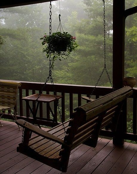 Cabin Porch Swing In The Mist