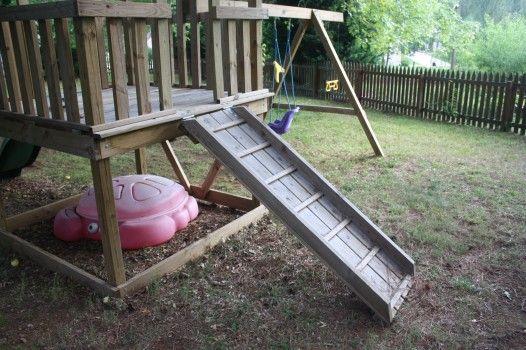 Viewalongtheway Backyard : wood playset ramp ladder  DIY home projects  Pinterest
