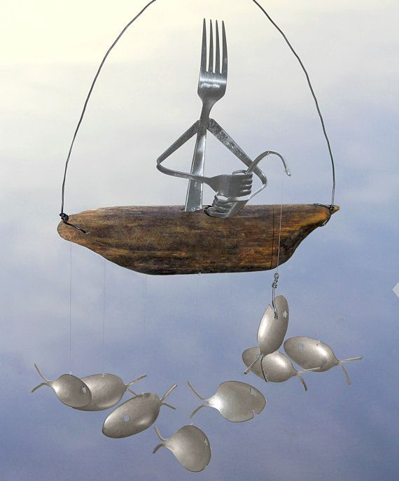 Fork fisherman and driftwood dingy with silver spoon fish for Fish wind chimes