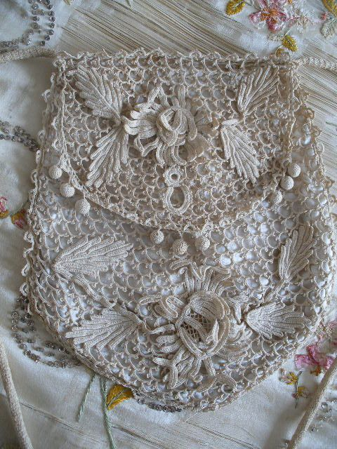 antique Irish Crochet purse ~ beautiful work, but the tiny stitches ...
