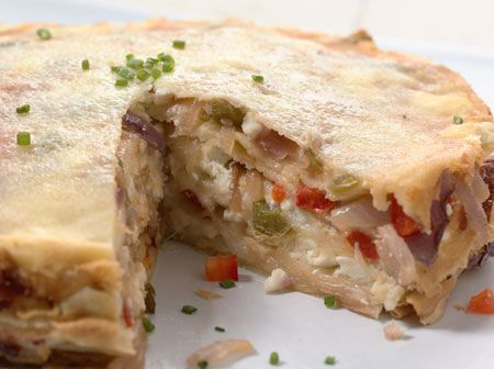 Vegetable Crepe Torte: layers of veggies surrounded by crepes! From