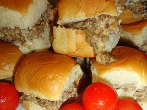 wolf pack specials -- hamburger meat, sausage and velveeta mixed together and put on Hawaiian dinner rolls. I may try this with some rotel added also