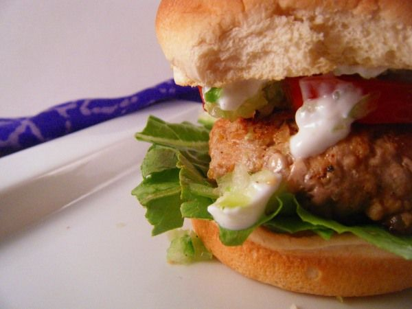 Southwestern Turkey Burgers with Salsa Verde and Zesty Lime Dressing # ...