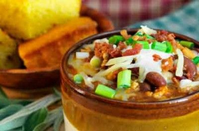 Two of your favorite holiday flavors in one cup of chili: Pumpkin and turkey!