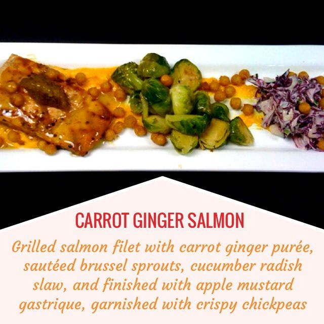 salmon filet with carrot Ginger purée, sautéed brussels sprouts ...