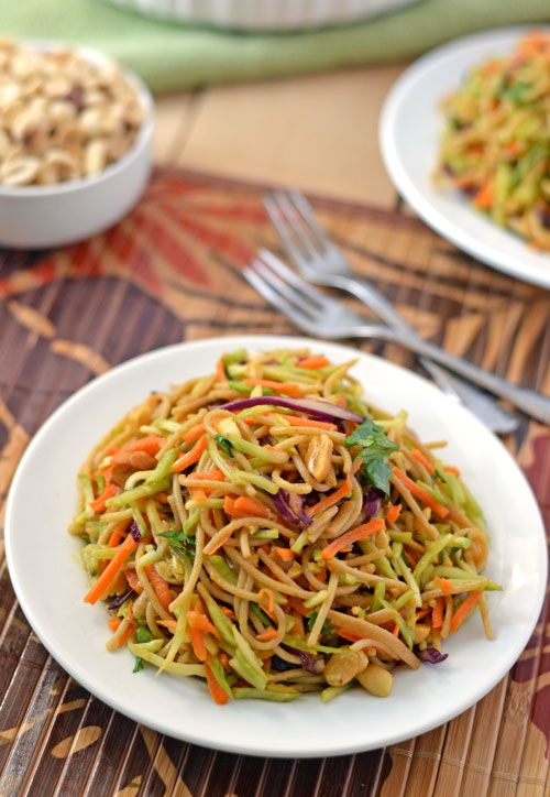 Asian Noodle Salad with sweet Sriracha peanut sauce. Fresh, healthy ...