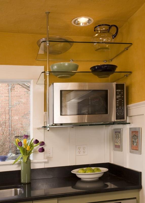 Suspended Glass Shelf In Kitchen Kitchens Pinterest