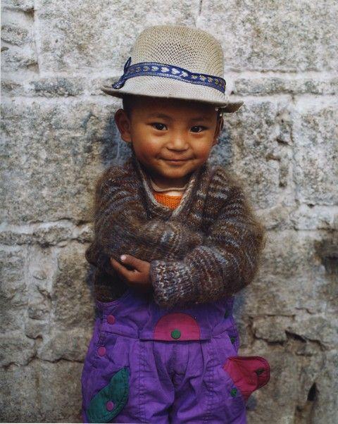 tibetan child.... that hat is so great!