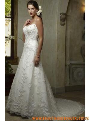 Herz-ausschnitt A-linie Schöne Hochzeitskleider aus Satin m...