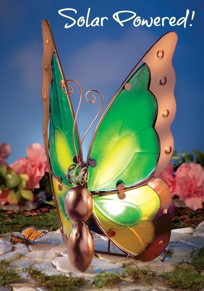 Glass butterfly solar light outdoor decoration for Outdoor butterfly decor