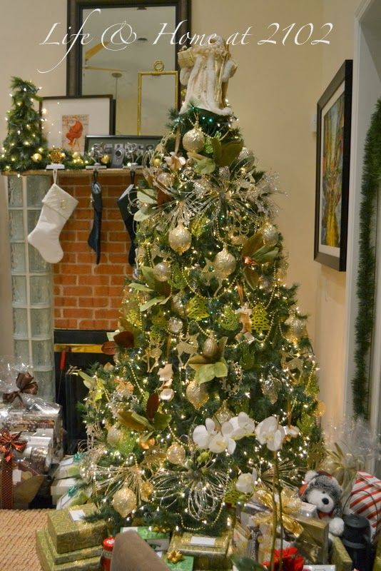 Our gold green christmas tree xmas pinterest for Green and gold christmas tree