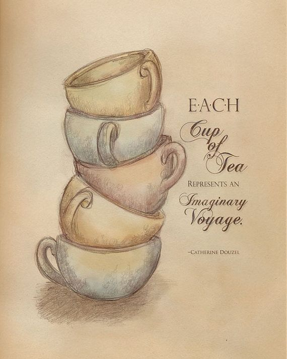 Tea vintage typography print Imaginary Tea by hopscotchgraphics   --  Sometimes a cup of tea is shared with a friend, a book, music, an unfocused gaze out your window.  -but each cup is a journey of sorts and that's a wonderful thing.