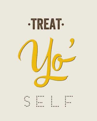 Typography Print, Quote Print, Treat Yo Self, Parks and Rec, Yellow, Nude, Wall Decor - Treat Yo Self 2 (8x10)