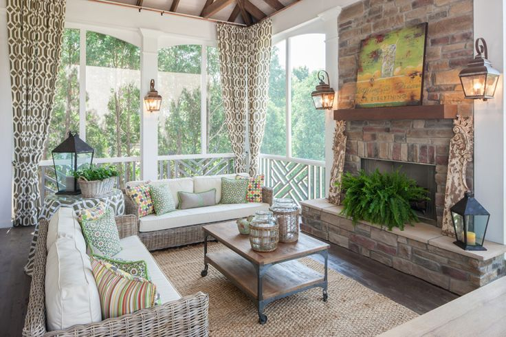 Screened porch with fireplace a welcoming back kind of for Screened in porch fireplace ideas
