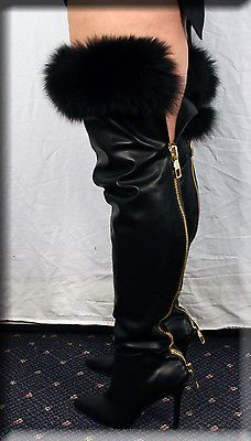 new thigh high black leather boots fox fur trim the