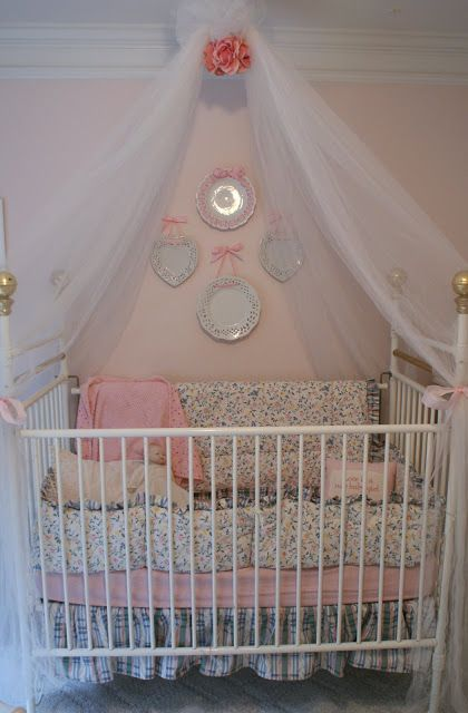 Tulle crib canopy baby 3 pinterest for Canopy above crib