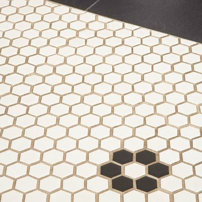 Hexagon Floor Tile W Brown Grout For The Home Pinterest