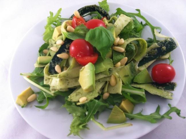 ... tagliatelle with hemp pesto, avocado, tomato, pine nuts & fresh basil