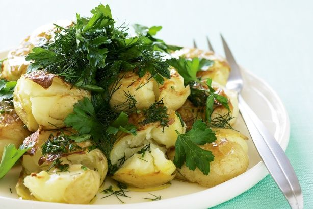 Smashed potato and herb salad | Xmas meal ideas | Pinterest