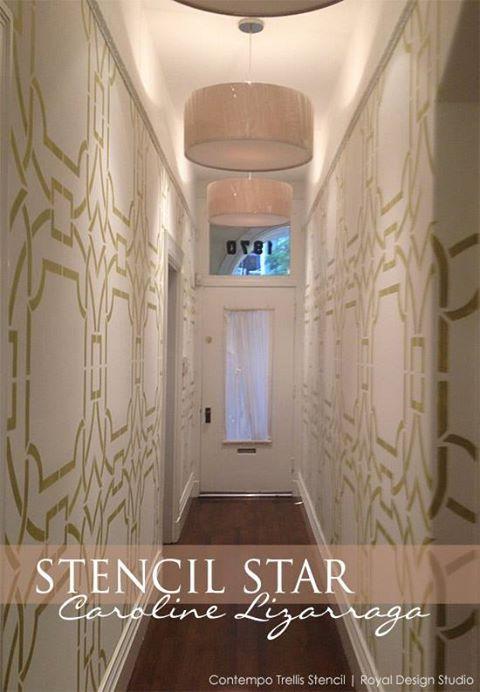 Stunning stenciled hallway | Contempo Trellis Wall Stencil | Artist: Caroline Lizarraga