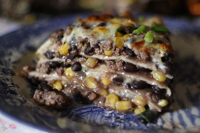 Tortilla and Black Bean Pie http://fullbelliesmakehappykids.wordpress ...