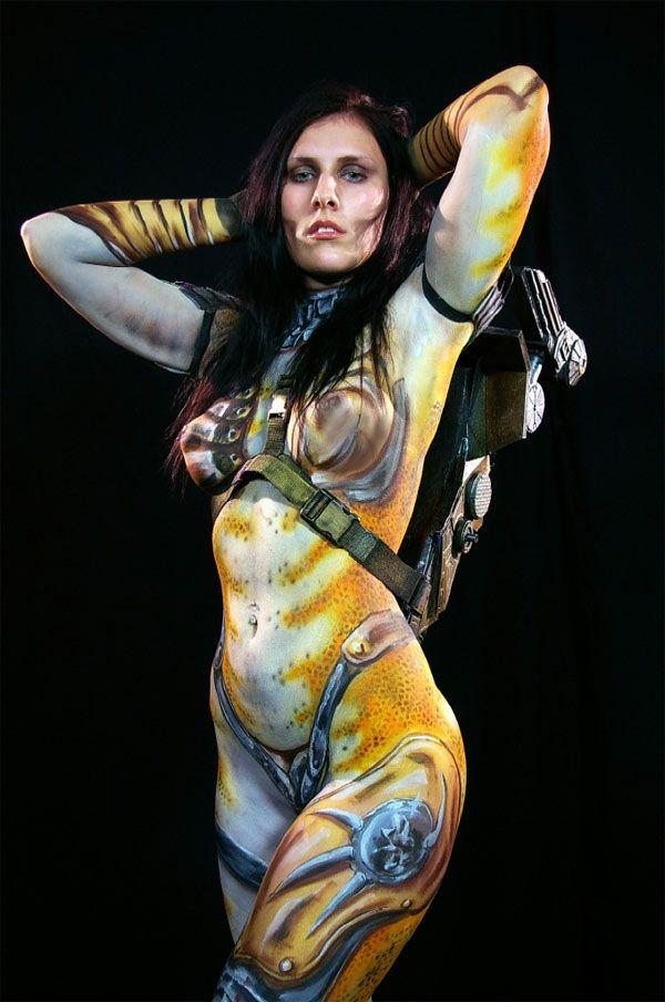 Female Predator body paint, head off | body paint cosplay | Pinterest