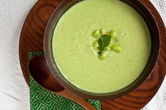 Edamame Arugula Soup | Kiss The Cook | Pinterest