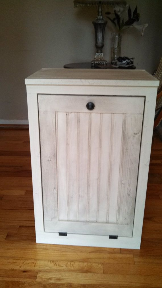 Wooden Hand Made Trash Bin Cabinet Rustic Farm Style Furniture Rustic Hand Made Furinture