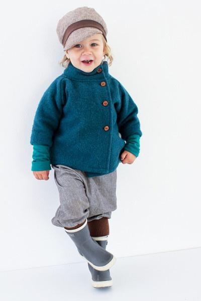 Wollwalkjacke jade - petit cochon - Kinderkleidung, die mitw chst
