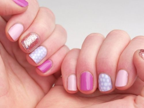 Polka dots, metallic, and pops of pink