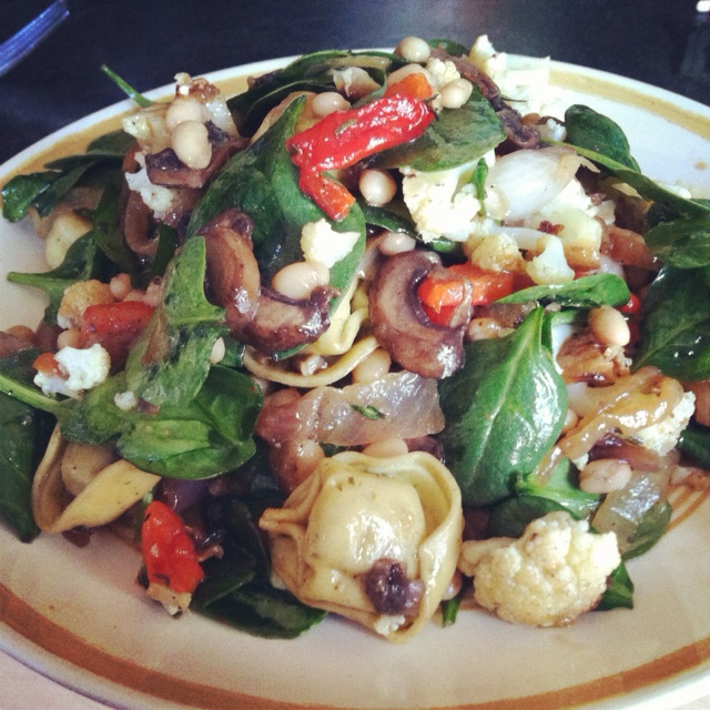 , goat cheese tortellini, caramelized mushrooms and onions, roasted ...