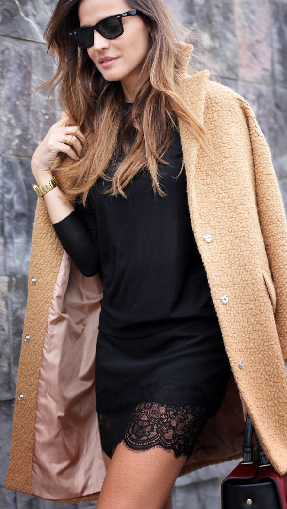 black lace + camel coat