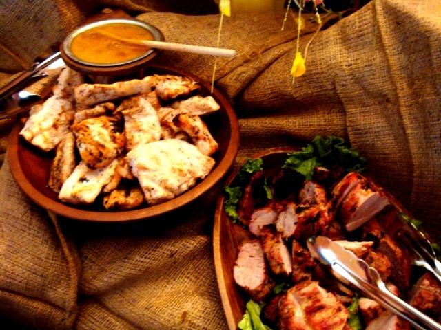 ... grilled chicken with peach honey mustard and grilled pork tenderloin