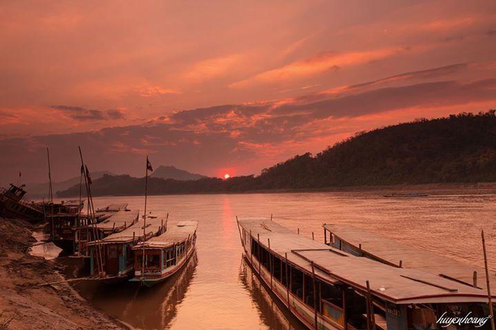 Hoàng hôn trên sông Mekong chụp tại địa phận Luang Prabang