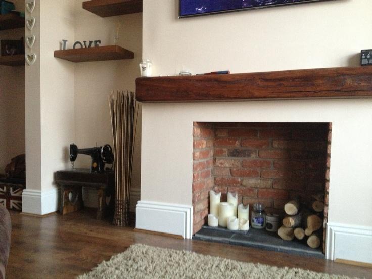 Wooden Beam Mantle Family Room Decor Pinterest