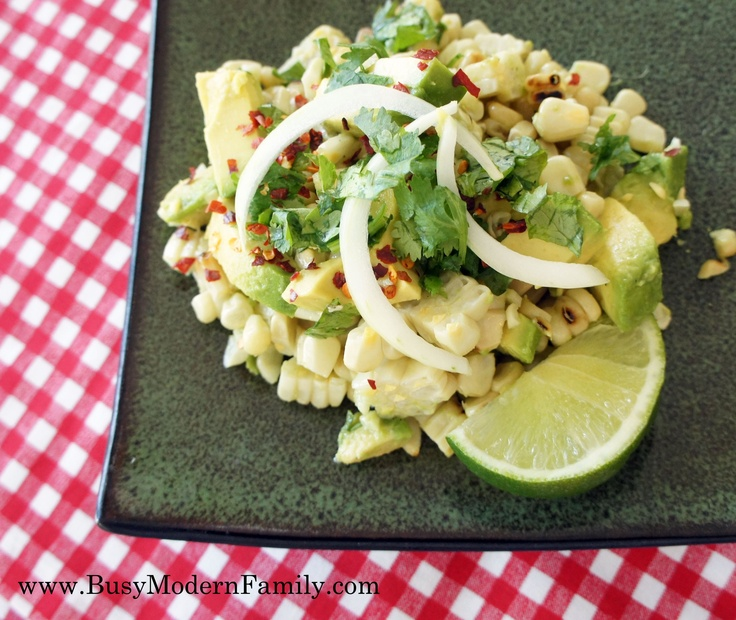 grilled corn and avocado salad with fresh lime and cilantro