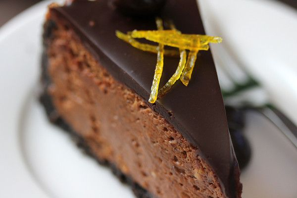 Liv Life: Chocolate Espresso-Orange Cheesecake with Grand Marnier Ganache and Candied Orange Peel