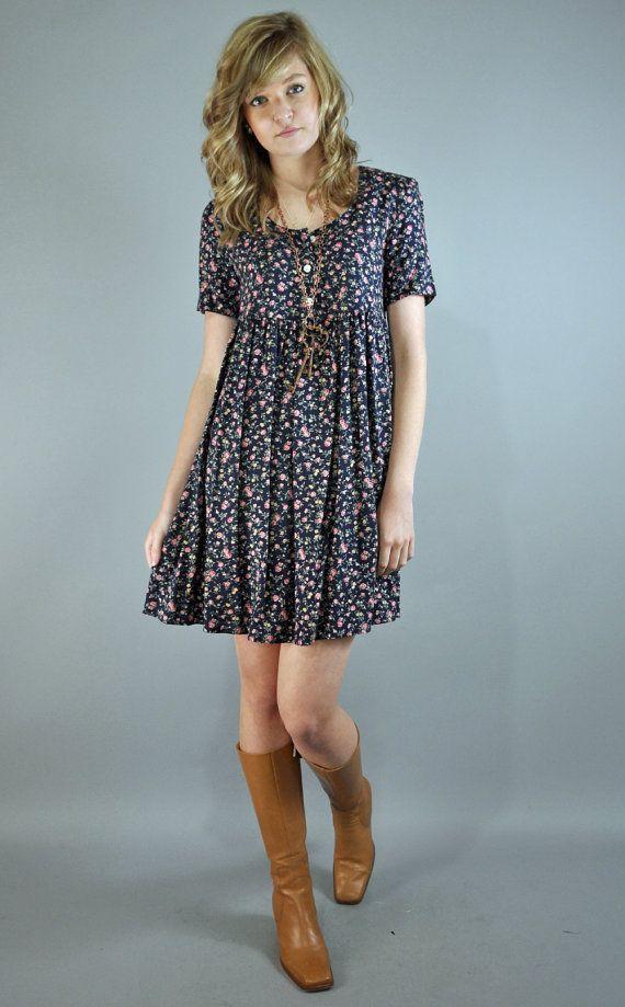 80s dress BABYDOLL DRESS full skirt calico floral dress