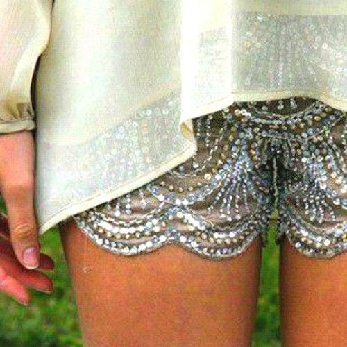 Sequin shorts.