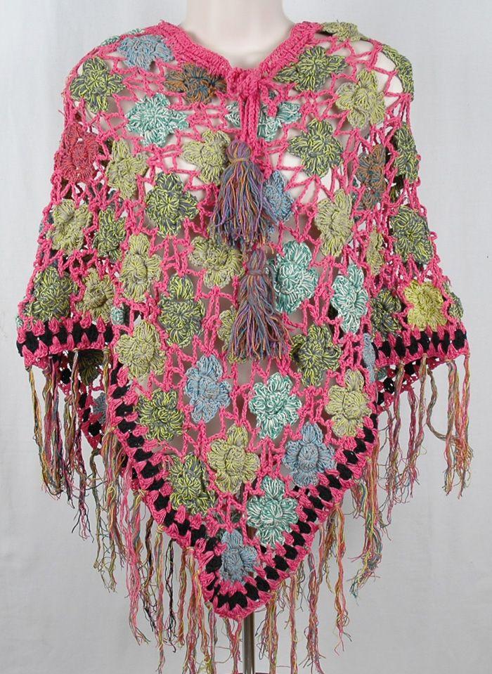 Sunny Pink Crochet Poncho Crochet clothes Pinterest