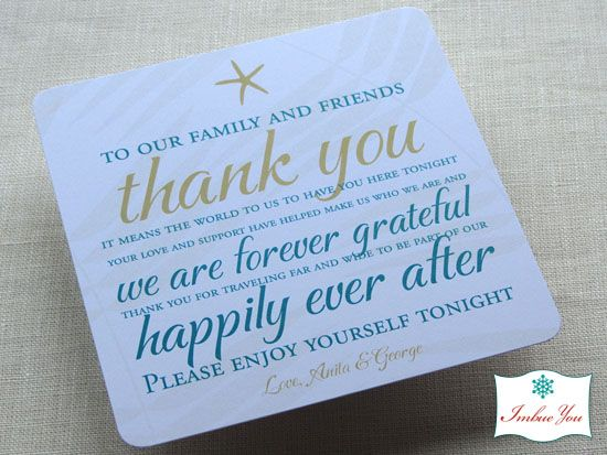Wedding Reception Thank You Card Wording | Nanas Wedding* | Pinterest
