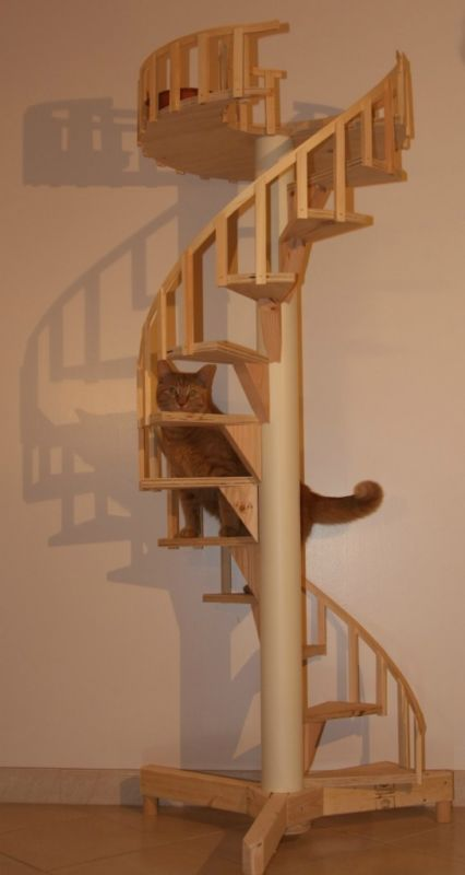 Spiral cat trees stairs real cabinet grade pine for Cat tree steps