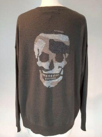 360/skull cashmere-camo v neck - Altitude Designer Clothing Store