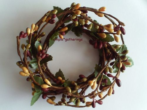 One 2 quot pip berry candle ring green burgundy mustard mixed berries