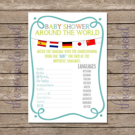 Baby Shower Game - Baby Showers Around the World - Instant Download P ...