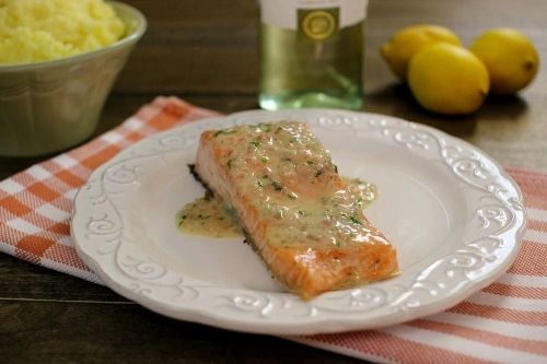 Roasted Salmon With White Wine, Lemon Butter Sauce | Recipe