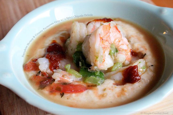 Succulent Shrimp and Creamy Parmesan Grits with a Spicy Chipotle ...