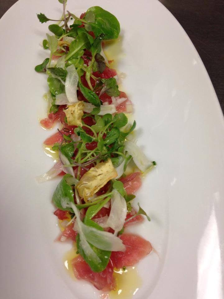 Tuna with fennel, radish, crispy artichokes and yuzu.