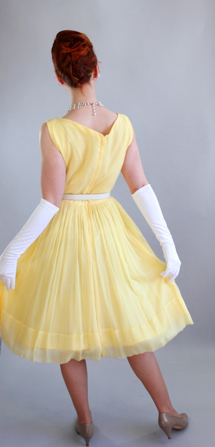 Vintage 1950s bright pastel yellow party prom formal dress for Yellow wedding dresses for sale
