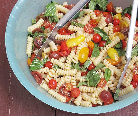 Sauce. A big bowl of fusilli with raw tomato sauce lets all this fresh ...